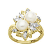 Cultured Freshwater Pearl & Lab-Created White Sapphire Cluster Ring