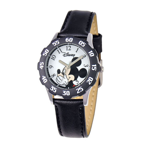 Disney Silly Mickey Mouse Kids Time Teacher Black Leather Strap Watch