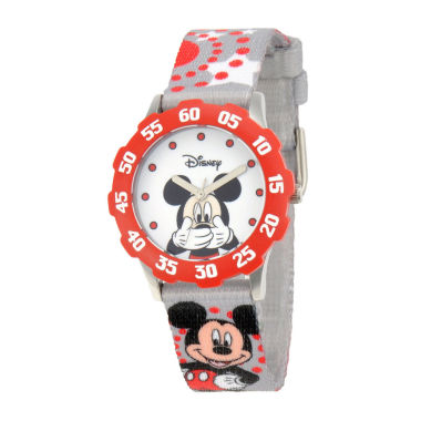 jcpenney.com | Disney Mickey Mouse Kids Time Teacher Gray & Red Strap Watch