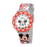Disney Mickey Mouse Kids Time Teacher Gray & Red Strap Watch
