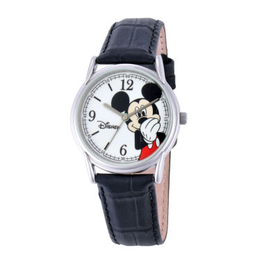jcpenney.com | Disney Mickey Mouse Mens Black Leather Strap Watch
