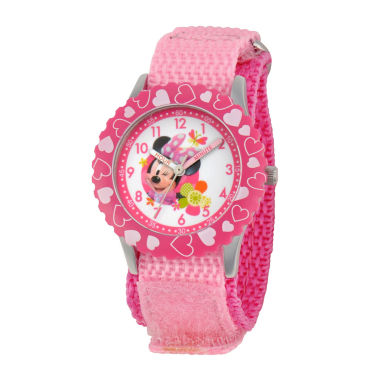 jcpenney.com | Disney Minnie Mouse Kids Time Teacher Pink Hearts Strap Watch