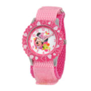 Disney Minnie Mouse Kids Time Teacher Pink Hearts Strap Watch