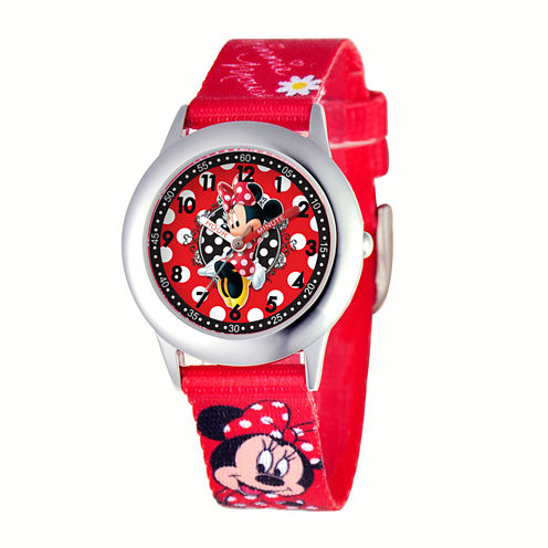 Disney Dancing Minnie Mouse Kids Time Teacher Red Strap Watch