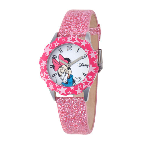 Disney Minnie Mouse Kids Pink Glitter Watch