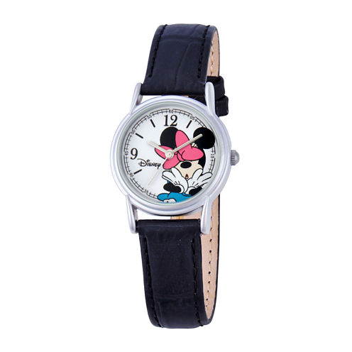 Disney Minnie Mouse Womens Black & Silver-Tone Watch