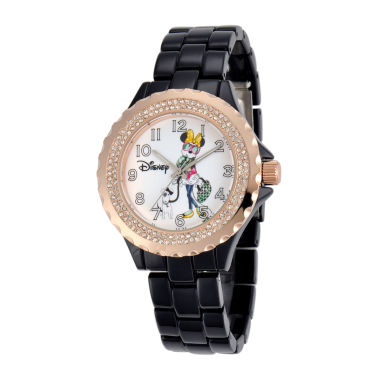 jcpenney.com | Disney Minnie Mouse Womens Black & Rose-Tone Watch with Crystals
