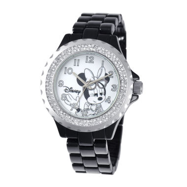 jcpenney.com | Disney Minnie Mouse Womens Black Enamel Watch with Crystals