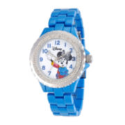 Disney Minnie Mouse Womens Blue Enamel Watch with Crystals