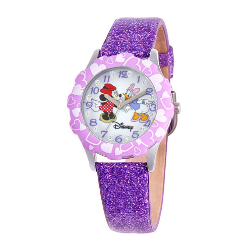 Disney Minnie Mouse & Daisy Duck Kids Purple Glitter Watch