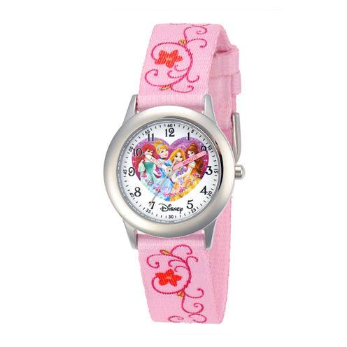 Disney Princesses Kids Time Teacher Pink Floral Strap Watch