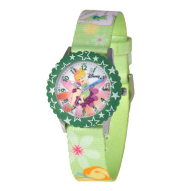 jcpenney.com | Disney Tinker Bell Kids Time Teacher Green Floral Strap Watch