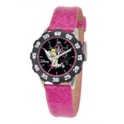 Disney Tinker Bell Kids Time Teacher Magenta Glitter Watch