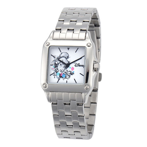Disney Tinker Bell Womens Silver-Tone Watch