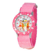 Disney Tinker Bell Kids Time Teacher Pink Hearts Strap Watch