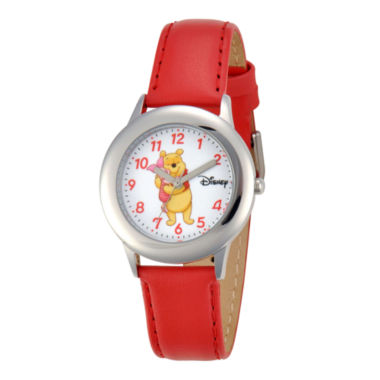jcpenney.com | Disney Winnie the Pooh Kids Red Leather Strap Watch