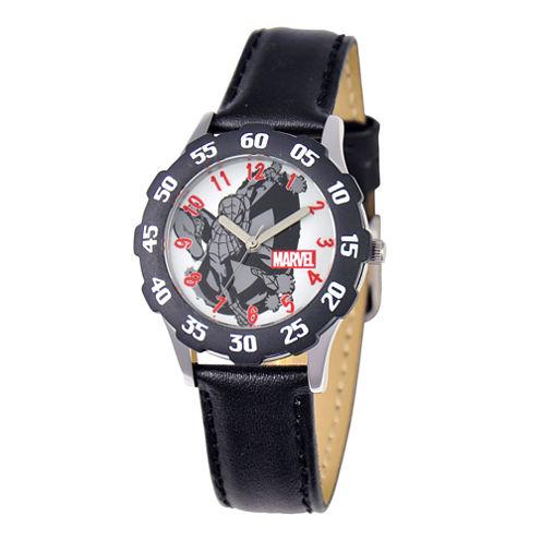 Marvel Spider-Man Kids Time Teacher Black Leather Strap Watch