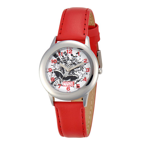 Marvel Spider-Man Kids Red Leather & Silver-Tone Watch