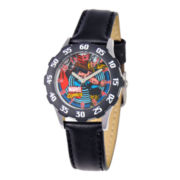 Marvel Thor Kids Time Teacher Black Leather Strap Watch
