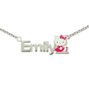 jcpenney.com | Hello Kitty® Personalized Girls Sterling Silver and Enamel Name Necklace