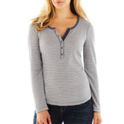 Liz Claiborne Thermal Henley Top with Shirttail Hem