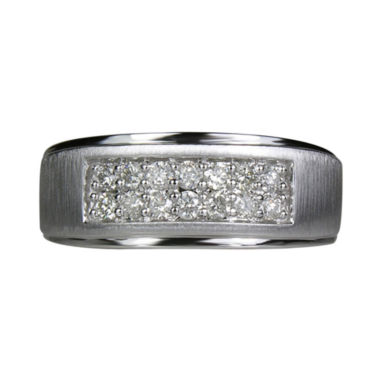jcpenney.com | LIMITED QUANTITIES Mens 1/2 CT. T.W. Diamond 2-Row 10K White Gold Band