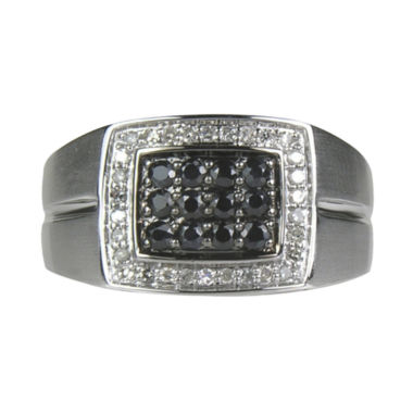 jcpenney.com | LIMITED QUANTITIES  Mens 1/2 CT. T.W. White Diamond and Black Sapphire Ring