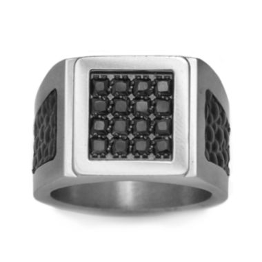 jcpenney.com | Mens Stainless Steel, Leather & Color-Enhanced Black Diamond-Accent Ring