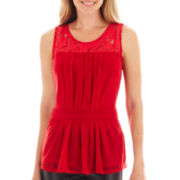 Worthington® Sleeveless Lace-Trim Peplum Top