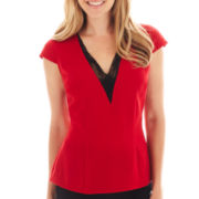 Worthington® Cap-Sleeve V-Neck Blouse