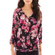 Alyx® 3/4-Sleeve Floral Print Crossover Blouse