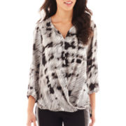 Alyx® 3/4-Sleeve Abstract Print Crossover Blouse