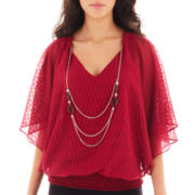 Alyx® 3/4-Sleeve Chevron Banded Blouse with Necklace