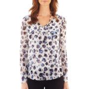 Liz Claiborne® Deep V-Neck Print Shirt