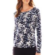 Liz Claiborne® Long-Sleeve Animal Print Tee