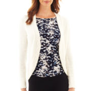 Liz Claiborne Long-Sleeve Cable-Trim Cardigan Sweater
