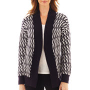 Liz Claiborne Long-Sleeve Stitched Cardigan Sweater