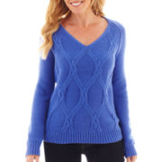 Liz Claiborne Long-Sleeve Twisted Cable Sweater