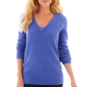 Liz Claiborne® Long-Sleeve Fuzzy V-Neck Sweater - Tall