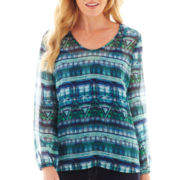 Liz Claiborne Long Sleeve V-Neck Top with Cami