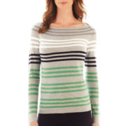 Liz Claiborne® Long-Sleeve Fine-Gauge Striped Sweater