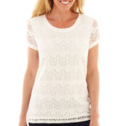 Liz Claiborne® Short-Sleeve Crochet Tee - Tall