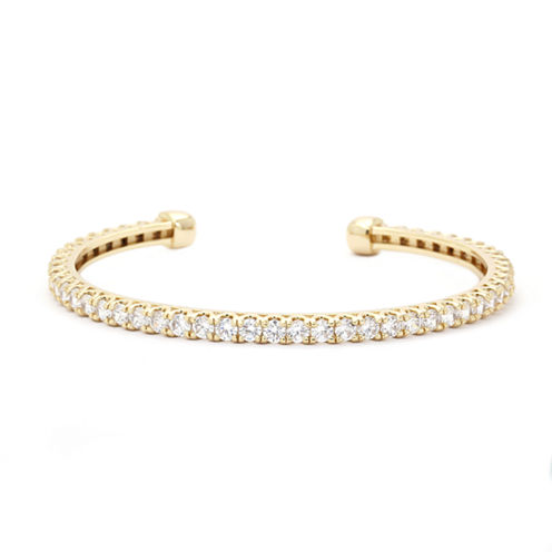 Sparkle Allure Cubic Zirconia Stone Open Band Gold Bracelet