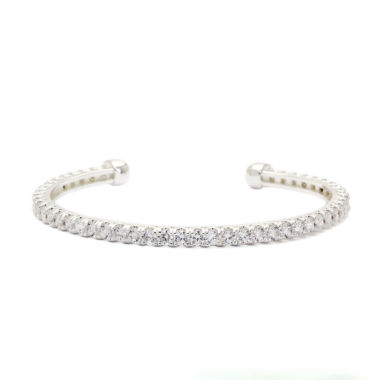jcpenney.com | Sparkle Allure Clear Round Cubic Zirconia Stone Open Band Silver Bracelet