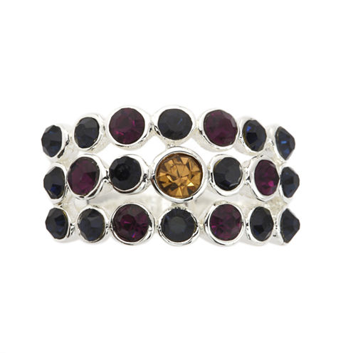 Sparkle Allure Womens Multi Color Crystal Silver Over Brass Cocktail Ring