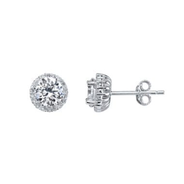 jcpenney.com | Silver Treasures Round White Cubic Zirconia Sterling Silver Stud Earrings