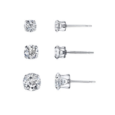 jcpenney.com | Silver Treasures 3-pc. White Cubic Zirconia Sterling Silver Earring Sets