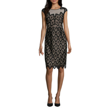 jcpenney.com | Luxology Short Sleeve Lace Sheath Dress