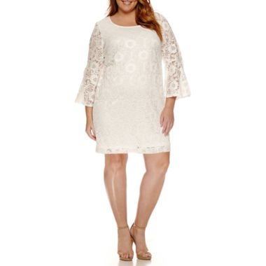 jcpenney.com | Robbie Bee Long Bell Sleeve Lace Sheath Dress-Plus