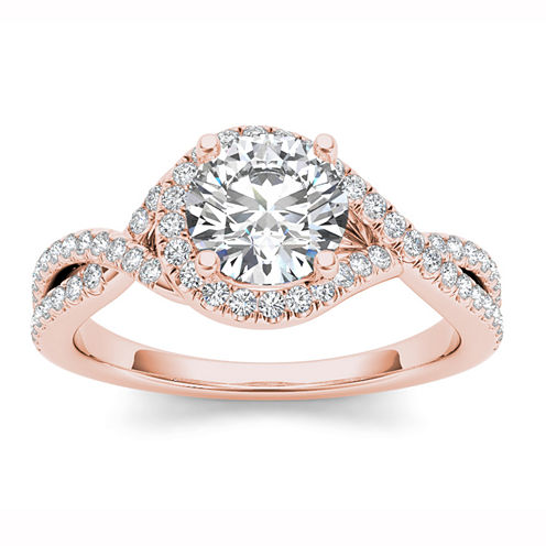 Womens 1 1/4 CT. T.W. Round White Diamond 14K Gold Engagement Ring